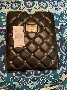 Michael Kors Quilted Studs Black Genuine Leather IPAD Case