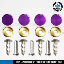 Set of 4 License Plate Frame Aluminum Purple Cap Stainless Steel Screw Rust Free