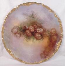 Limoges Cabinet Plate Pine Cones T & V Tressemann & Vogt Porcelain Antique