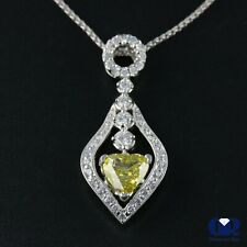 "1.65 Ct Fancy Yellow Heart Shaped Diamond Pendant Necklace 18KWG With 16"" Chain"