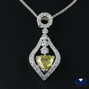 """1.65 Ct Fancy Yellow Heart Shaped Diamond Pendant Necklace 18KWG With 16"""" Chain"""