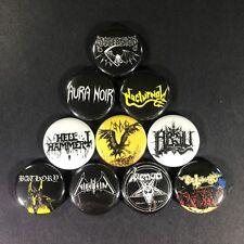 "Black Thrash Metal 1"" Button Pin Set Death Dissection Hell Hammer Bathory Venom"