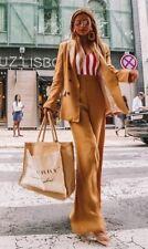 ZARA MUSTARD YELLOW SUIT SET DOUBLE BREASTED BLAZER & WIDE LEG PANTS