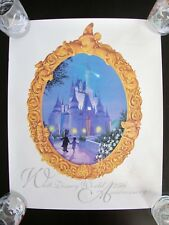 Walt Disney World 25th Anniversary Poster Embossed Logo Cinderella Castle 1996