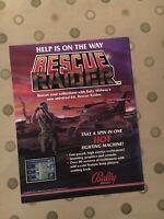 Bally/Midway Rescue Raider Video Arcade Game Machine Flyer, 1987 NOS
