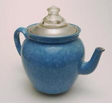 Vintage Blue & White Graniteware Elite Coffee Percolator Landers Frary & Clark