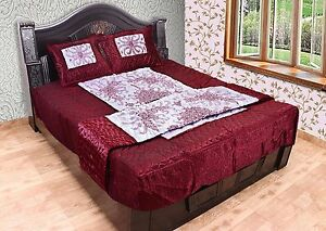King Size Silk Floral Embroidered 4Pc Vintage Sheet Pillow Quilt Bedding Set