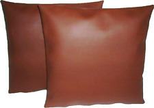 "2 Deep Tan Faux Leather Classic Cushion Covers 16"" 18"" 20"" Scatter Pillows"