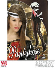 Black Pantyhose with Skulls And Bones Accessory for Buccaneer Fancy Dress