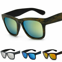 New Men Womens Retro Vintage Bamboo Wood Print Sunglasses Mirror Eyewear Glasses