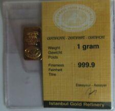Gold 1 gramm Barren mit Zertifikat