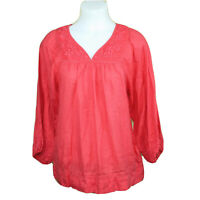 Lucky Brand Womens Red Boho Tunic Top Blouse Floral Embroidery Medium