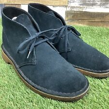 UK6.5 Mens Clarks Desert Chukka Boots - Navy Blue Charles F Stead Suede Shoes