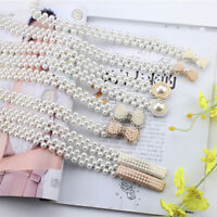 Women Ladies Pearls Crystal Beads Chain Belt Stretchy Flower Buckle WaistbandTRF