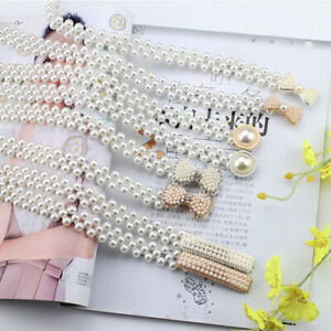 Women Ladies Pearls Crystal Beads Chain Belt Stretchy Flower Buckle Waistb.BI