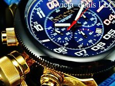 Invicta 54mm Russian Diver Japanese Chronograph Blue Dial Gold IP Leather Watch