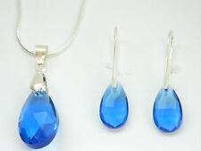 Zaffiro Blu Reale Mandorla Lacrima Cristallo Set Gioielli Orecchini Collana S141