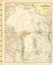 c1880 VICTORIAN MAP ~ NORTH POLAR REGIONS WITH LATEST EXPLORATIONS