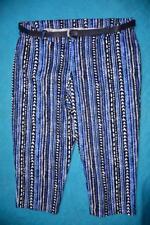 Autograph Belted Crop Pants Size 18 Black/blue Stripe Print