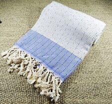 Morganicsbeauty Nefes Peshtemal, Serviette de Plage Bleu 100x180cm 100% Cotton
