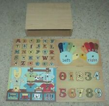 Babystyle Wooden Puzzle Set w/ Holder Letters Dress Up Numbers SEE CONDITION