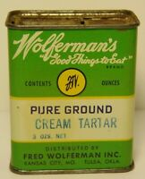 New Vintage 1940s FRED WOLFERMAN TARTAR SPICE TIN KANSAS CITY MISSOURI TULSA OK