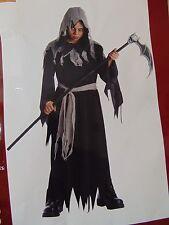 Grim Reaper Shredded Robe Hood Boys Halloween Costume No Waist Tie Medium #1284