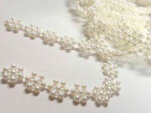 CraftbuddyUS AT8 3mX10mm Ivory Vintage Pearl Flower Snowflake Wedding Lace Trim