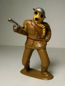 VINTAGE BARCLAY B128 / 778 OFFICER WITH GAS MASK ~ CAST HELMET ~ MANOIL