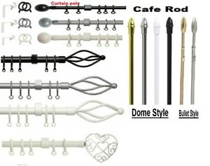 Extendable Metal Cafe Rod Net Pole & Curtain Pole 135 - 300CM Chrome Brass Black