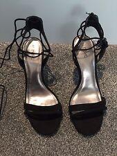 Next Faux Suede Leather Sandals BNWT Size 5 1/2 Black