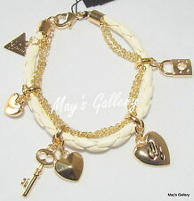 GUESS ??? Jeans Rhinestones  Bangle  Bracelet  Gold Tone Charms  Woven  NWT