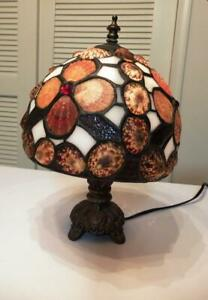 Small Table Accent Lamp with Tiffany Style SHELL & Glass Shade - Night Light