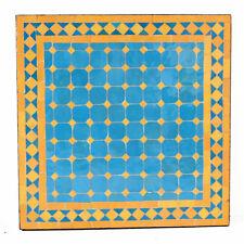 Marokkanischer rechteckiger Mosaiktisch Teetisch MOSA Gelb / Hellblau D60X60cm