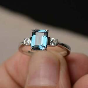 London Blue Topaz Ring Engagement Ring Emerald Cut Blue Gemstone Platinum Plated