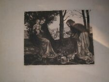 "19th c Albert Welti Engraving ""Madonna"" Hand Signed Artist 10 x 13 Holy Family"