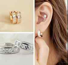 Women's Stainless Steel Rhinestone Crystal Huggie Hoop Studs Earrings Jewelry H