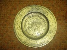 HEAVY Antique Chinese Bronze Brass Charger Plate Dragon 10 inch