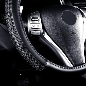 "Universal 15"" Car Steering Wheel Cover Leather Waterproof Black Auto Accessories"