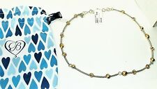 Brighton MONTE CARLO Necklace J49311 Silver Gold Crystal Reversible NWT + Pouch