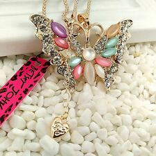 Betsey Johnson charm Gold-plated Colorful butterfly chain long necklace VV75