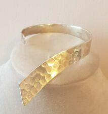 SILVER BANGLE HEAVY 23g HAMMERED EFFECT CUFF BRACELET STERLING SOLID ABSTRACT
