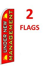 2 (two) UNDER NEW MANAGEMENT red 11.5' SWOOPER #1 FEATHER FLAGS BANNERS