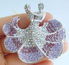 Unique Ballet Dancer Brooch Pin Purple Austrian Crystal Pendant 05815C5