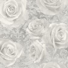 Silver and Grey Roses Wallpaper on Damask Pattern Reverie by Arthouse 623303