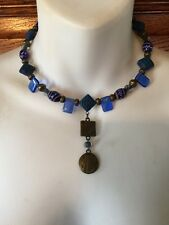 Vintage Asian Influence Memory Wire Cobalt Beads & Brass Pendant Choker Necklace
