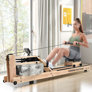Water Resistance Oak Rowing Machines with Bluetooth Monitor Workout for Home Gym
