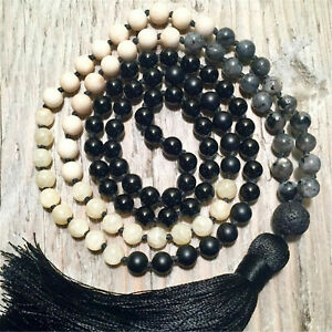 Natural Yellow Jade Black Onyx 108 Beads Handmade Tassel Necklace Meditation