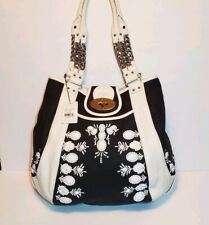 LOCKHEART RARE BLK/WHT GWEN JEWELED LEATHER AND CANVAS SHOULDER HANDBAG NWT$625