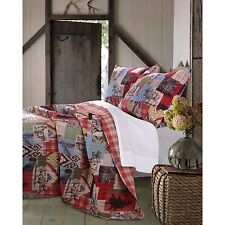 BEAUTIFUL WESTERN CABIN LODGE BROWN BLUE RED RANCH COUNTRY PLAID QUILT SET KING
